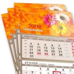 Kalendarz Trójdzielny Standard 10 szt Folia Mat